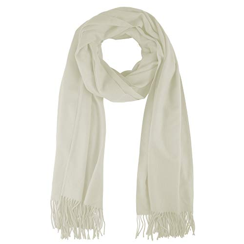 tweight Cashmere Scarf in Solid Color (White cream) ()