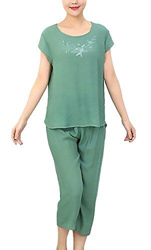 Pigiama Donna Tops+3/4 Pantaloni Due Pezzi Taglie Forti Elegante Manica Corta Girocollo Stampati Floreale Larghi Chic Unique Comfort Homewear Pigiami Verde