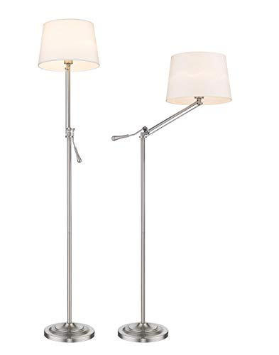 Tengxin Classic Floor Lamp Swing Arm Nickel Plated,Standard Lamp with Foot Switch,Bulb Shape Floor Light for Living Room, Family Room, Office or Bedroom,UL Listed ()