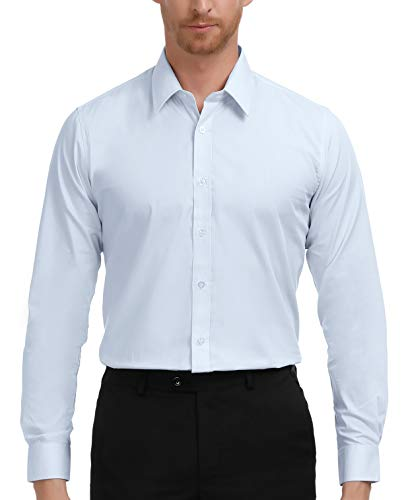 Men's Classic Long Sleeves Business Casual Dress Shirts, Large Light -