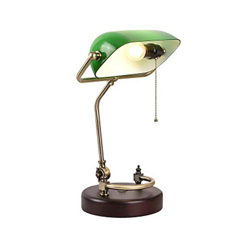 American Minimalist Design Executive Banker lamp Brass Retro Desk lamp Glass Shadow Antique Green lampshade Creative Nostalgic Study Bedroom - Desk Lamp Brass Glass