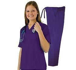 Women's Scrub Set - Medical Scrub Top and Pant, Purple, ()