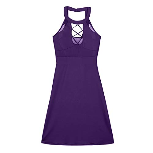 YKARITIANNA Women Plus Size Sexy Hanging Neck Mesh Openwork Straps Slim Mini Dress 2019 Summer Purple
