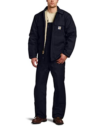 Carhartt Men's Flame Resistant Heavyweight Duck Traditional Coat,Dark Navy (Closeout),Small