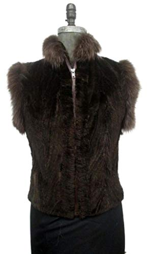 (Women's Sz 4/6 XS S Sheared Beaver Fur Vest with Fox CLEARANCE SALE)