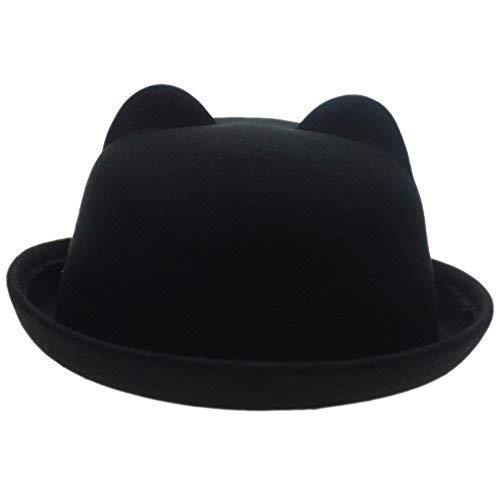 5ed39ec0527 Women Candy Color Wool Woolen Felt Cat Ear Curling Fedora Bowler Top Hat  Cap 22 quot