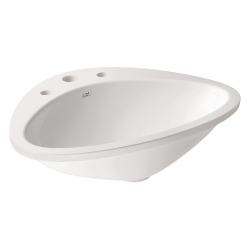 AXOR 42313000 Massaud Drop-In Sink with 3 Hole, White - Axor Massaud Wall