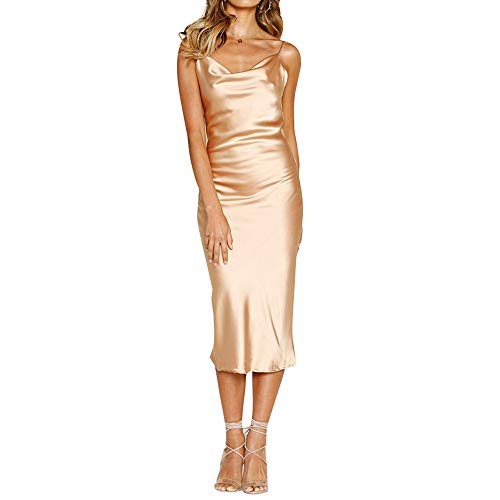 Women's Dresses Spaghetti Strap Cowl Neck Polka Dot Leopard Printed Satin Cocktail Dress Backless Bodycon Midi Dress Light Gold ()