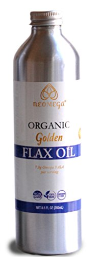 NEOMEGA Organic Golden Flaxseed Oil Virgin, Unrefined Cold Pressed 100% Pure, Product of USA, (8 oz). by NEOMEGA