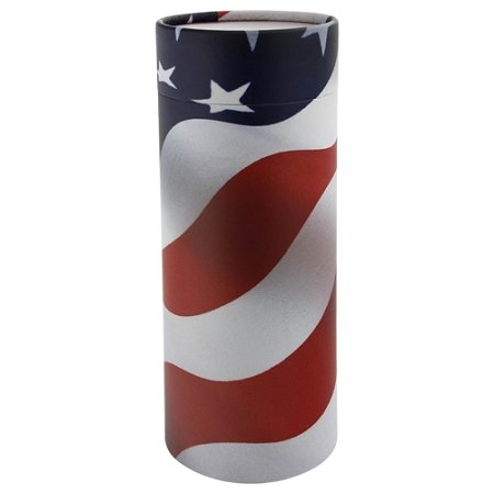 Silverlight Urns Patriot Scattering Tube with American Flag Design, Biodegradable Cremation Urn to Scatter Ashes