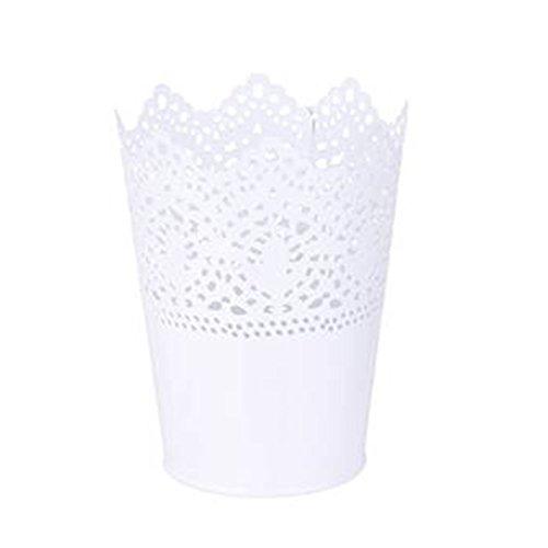 Pixnor Kunststoff Blume Topf Übertopf Garten Blume Pflanze Töpfe Lagerung Halter Stifthalter (weiß)