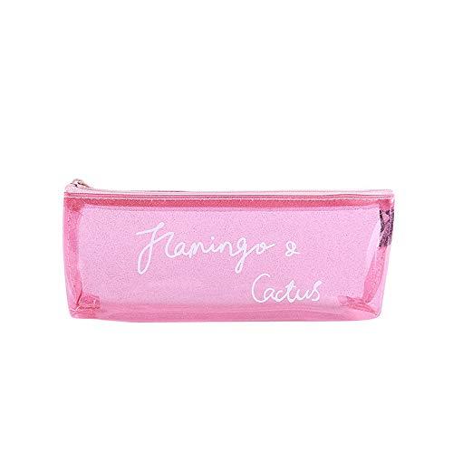 KFSO Pencil Bag,Transparent Gilliter Stationery Pen Pencil Case Zipper Cosmetic Bag Travel Makeup Bag High Capacity (Pink)