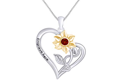 (AFFY Personalized Round Simulated Garnet Two Tone Sunflower with Heart Pendant Necklace in 14k White Gold Over Sterling Silver)