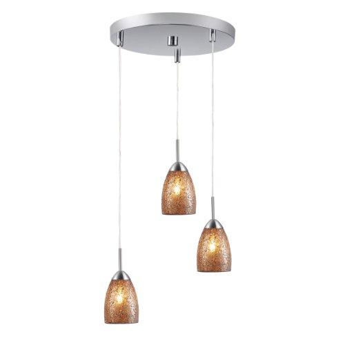 Woodbridge Lighting 13224STN-M20AMBT Venezia 3-Light Satin Nickel Multi-Light Pendant with Amber Mosaic Glass