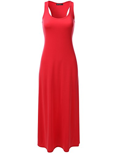 DRESSIS Women's Racerback Scoop Neck Sleeveless Relaxed Loose Fit Maxi Tank Dress RED (M&m Red Tank Dress)