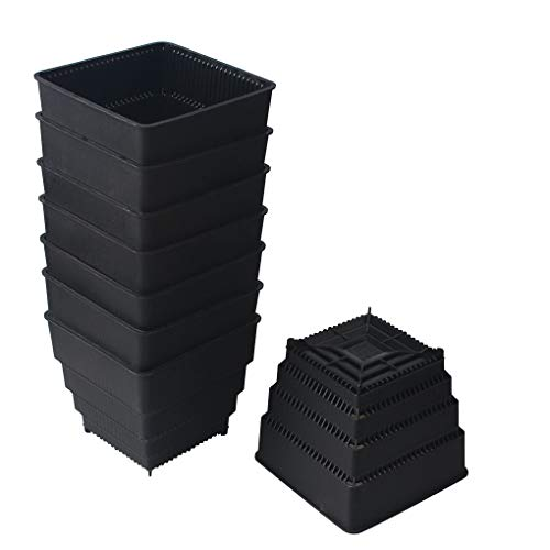 BangQiao 4.20 Inch Plastic Square Flower and Succulent Nursery Plant Pot Planter Container, Pack of 8, Black