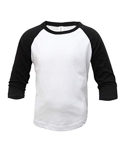 ILTEX Kids Baseball Raglan T-Shirt 3/4 Infant/Toddler/Youth (4T, White/Black)