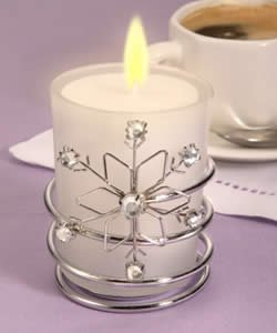 Snowflake Candle w- Clear Stones, 20