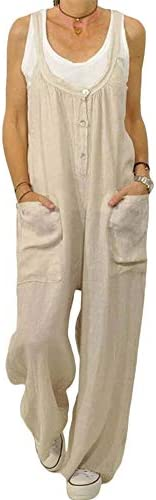 Romose Ladies Dungaree Shorts Dress Jumpsuit with Pockets Retro Overalls Summer Loose Long Baggy Trousers