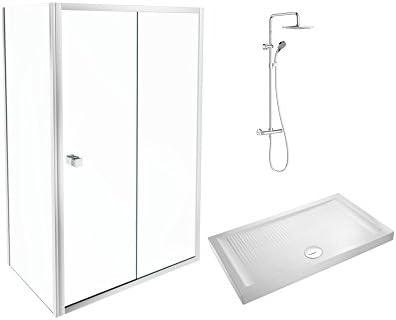 Jacob Delafon E63117-00 Conjunto de mampara, plato columna de ducha, Sin acabado, Set de 3 Piezas: Amazon.es: Bricolaje y herramientas