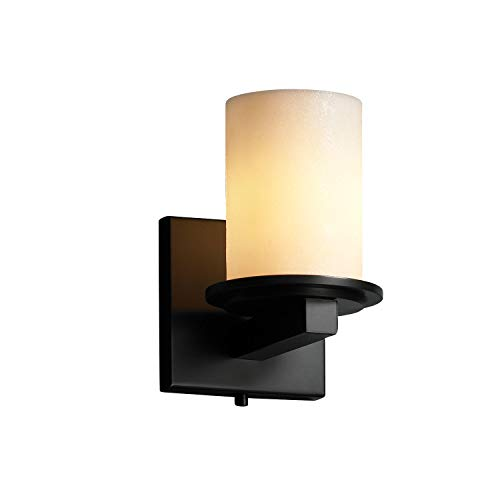 - Justice Design Group CandleAria 1-Light Wall Sconce - Matte Black Finish with Cream Faux Candle Resin Shade