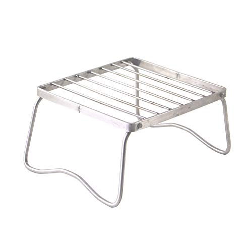 YaptheS Portable Open Fire Stand Rack Folding Campfire Grill Rack Outdoor Mini Folding Compact Charcoal Barbecue Grill Stainless Steel Camp Stove Stand Burner Stand Rack