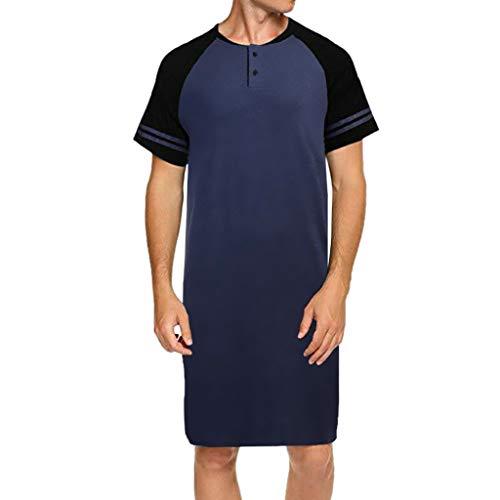 Price comparison product image Dreamyth-Spring Men Raglan Short Sleeve Patchwork Button Long Loose Pajama Tee Nightshirt (Blue