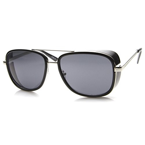 zeroUV - Classic Side Shield Double Bridged Flat Lens Metal Aviator Sunglasses 55mm (Black-Silver / - Sunglasses Shields Aviator Side With