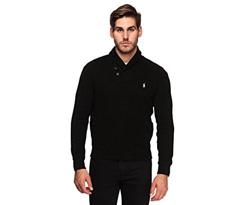 French Rib Sweater - Polo Ralph Lauren Mens French Rib Shawl Neck Sweater (Small, Polo Black)