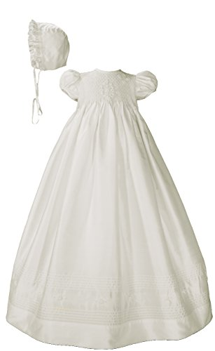 Silk Dupioni Christening Baptism Gown with Smocked Bodice, 3 Months