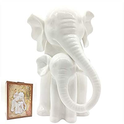"""Anding Home Decoration White Porcelain Mother and Baby Elephant Statue/Figurine in High Gloss Finish - Mother and baby elephant statue. High gloss white porcelain finish 7""""tall X 5.5""""long X 6""""wide - living-room-decor, living-room, home-decor - 31yFgmEGWbL. SS400  -"""