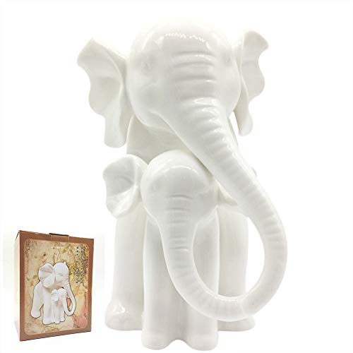 Anding Home Decoration White Porcelain Mother and Baby Elephant Statue/Figurine in High Gloss ()