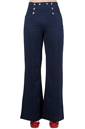 Banned 50's Vintage Sailor High Waist Double Buttoned Wide Leg bell flare Pants (S, Navy) by Banned Apparel