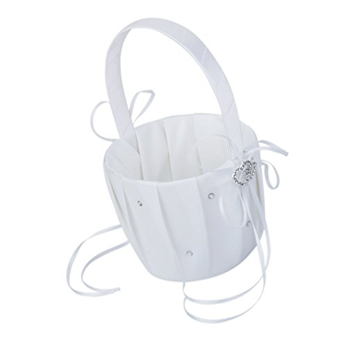 (andy coolSatin Wedding Flower Girl Basket Double-Heart Rhinestone Decor-White (Style 1) Useful and Practical)