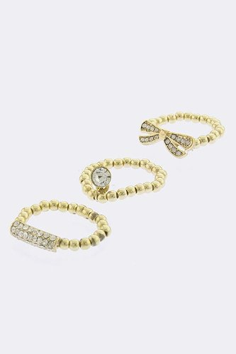 KARMAS CANVAS NAME TAG AND BOW RING SET (Gold)