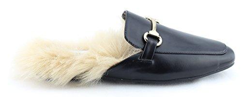 CALICO KIKI Damenmode Schuhe Slip-On Mule Slide Loafer Wohnungen Pelz_schwarz
