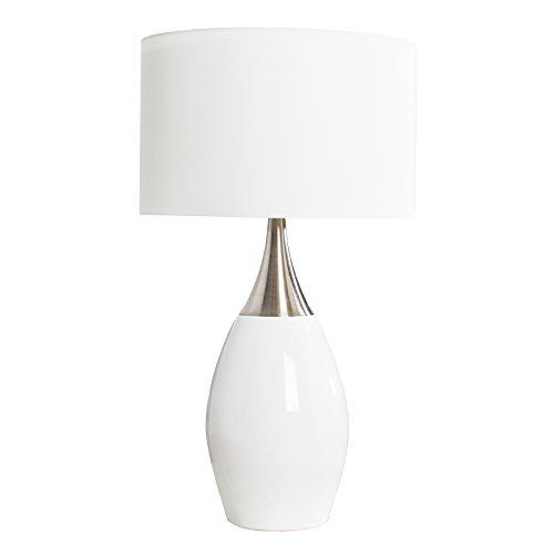 Elegante Tischlampe CARLA Weiss 60cm E27 Tischleuchte Wohnzimmerlampe Textilschirm Nachttischlampe Amazonde Beleuchtung