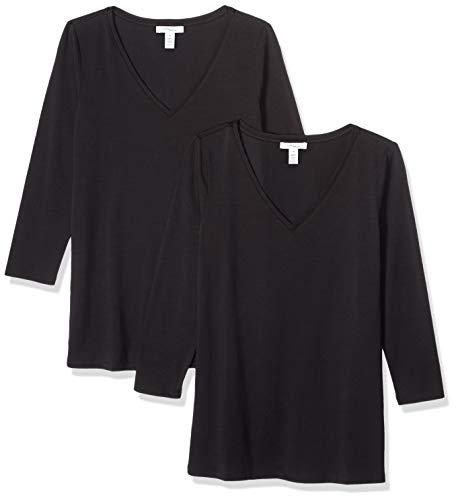 Three Quarter Sleeve Stretch Shirt - Amazon Brand - Daily Ritual Women's Stretch Supima 3/4-Sleeve V-Neck T-Shirt, Black, Small