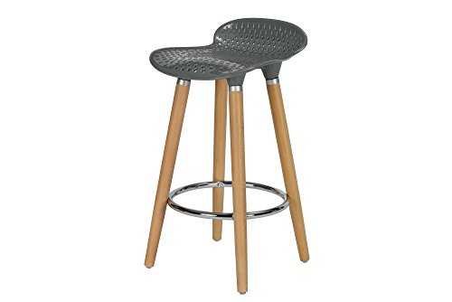 DHP Vienna Counter Stool with Beech Wood Legs and Chrome Ring, Modern Design, Grey (Chair Vienna Kids)