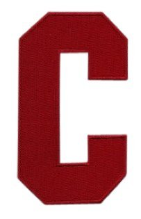 Hockey Style Patch RED C Patch (Captain) Iron On for Jersey Football, Baseball. Soccer, Hockey, Lacrosse, Basketball ()
