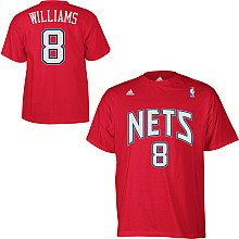 Products New Jersey Nets - New Jersey Nets Deron Williams Gametime Red Adidas T Shirt (Medium)