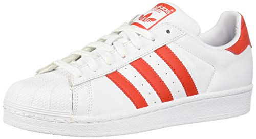adidas Originals Women's Superstar Shoes Running, White/Active red/Black, 11 M US