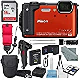Nikon COOLPIX W300 Digital Camera (Orange) w/WiFi and Adventure Bundle with 16GB + Case + Deluxe Starters Kit + Floating Strap + FiberTique Cleaning Cloth + More
