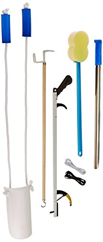Sammons Preston Complete Hip Replacement Kit, Recovery Kit with Assorted Daily Living Tools Including Sock Aid, 24″ Shoehorn, 26″ Reacher Tool, Bath Sponge, Dressing Stick, 26″ Shoelaces