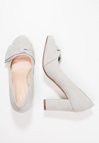 Anna Field Escarpins Chics pour Femmes - Chaussures de Soirée Avec Noeud Décoratif - Escarpins Élégants à Bouts Ronds pour Femmes Gris, Rouge OU Noir Gris