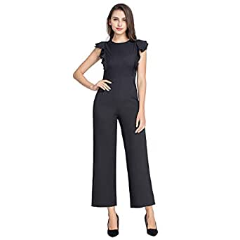 ac1443f2cdb0 Image Unavailable. Image not available for. Color  JTANIB Women s High Waist  Long Jumpsuit Rompers Sleeveless Ruffle Trim Wide Leg Casual Jumpsuits Black  S