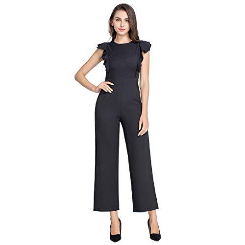 (JTANIB Women's High Waist Long Jumpsuit Rompers Sleeveless Ruffle Trim Wide Leg Casual Jumpsuits Black S)