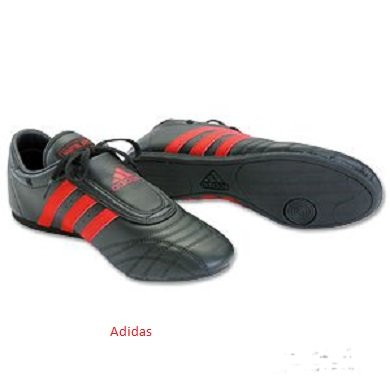 Adidas Martial Arts Shoe, Black w/ Crimson Stripes, males's measurement 10
