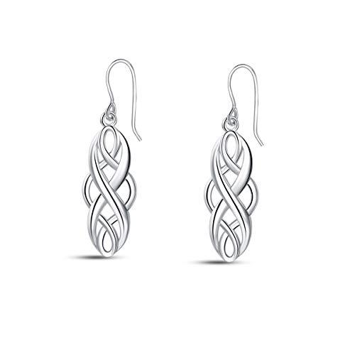 HN Irish Celtic Knot Sterling Silver Dangle Drop Earrings 925 Sterling Silver Good Luck Celtic Knot Earrings Celtic Knot Drop Earrings