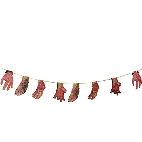 Halloween Props, Rob Zombie Limbs Bloody Hand Feet Garland Banner, Eholder Scary Hanging Banner for Zombie Vampire Party Halloween Decorations, Rob Zombie Halloween (Hand Feet Banner)]()